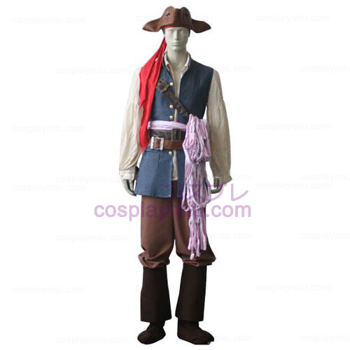 Pirates of the Caribbean kapteeni Jack Sparrow Cosplay pukuja