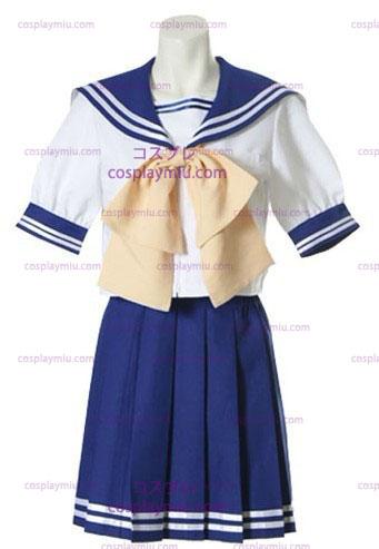 Sininen Ja Valkoinen Lyhythihainen Sailor Koulupuku Sininen Ja