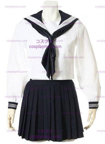 Valkoinen Pitkahihaiset Sailor Koulupuku Cosplay Pukuja Valkoinen