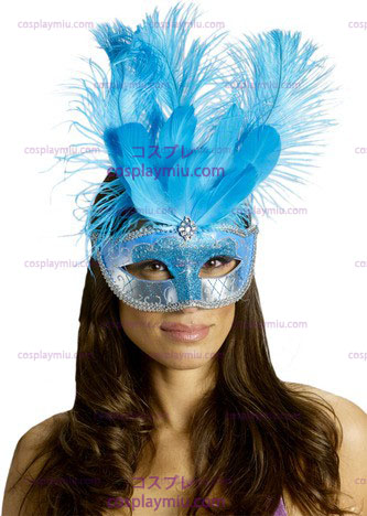 Carnival Naamio Feather Turquois